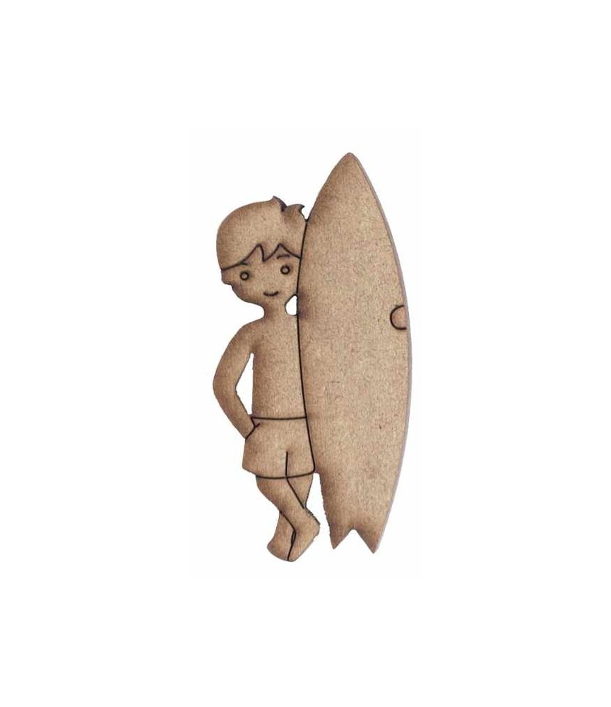 Silueta madera surfista
