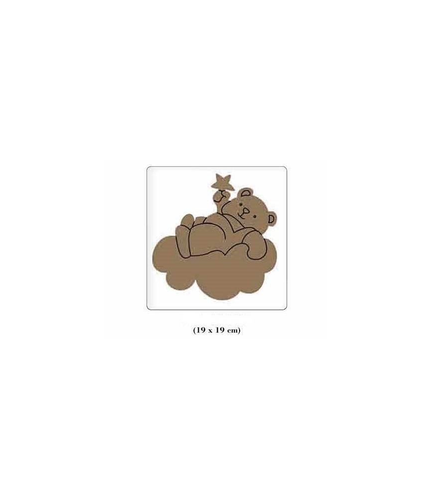 Silueta de madera infantil Osito nube
