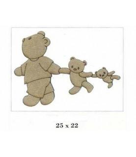 Imagén: Silueta de madera infantil osos de la mano
