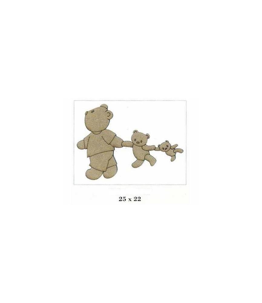 Silueta de madera infantil osos de la mano