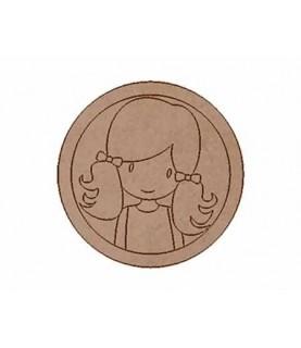 Silueta de madera Muñeca circulos coletas