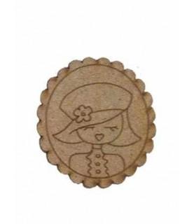 Silueta de madera Muñeca ondas gorra
