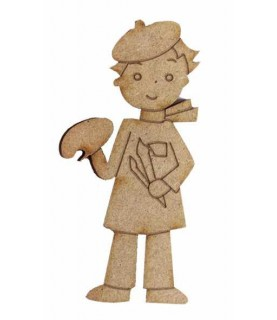 Imagén: Silueta de madera Muñeco pintor