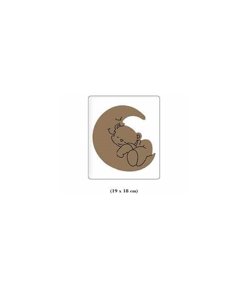 Silueta de madera infantil osito luna