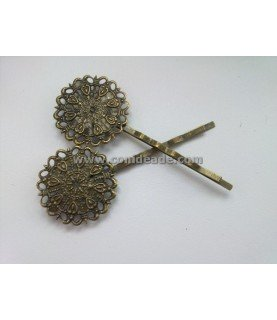 Horquilla vintage bronce redonda filigrana