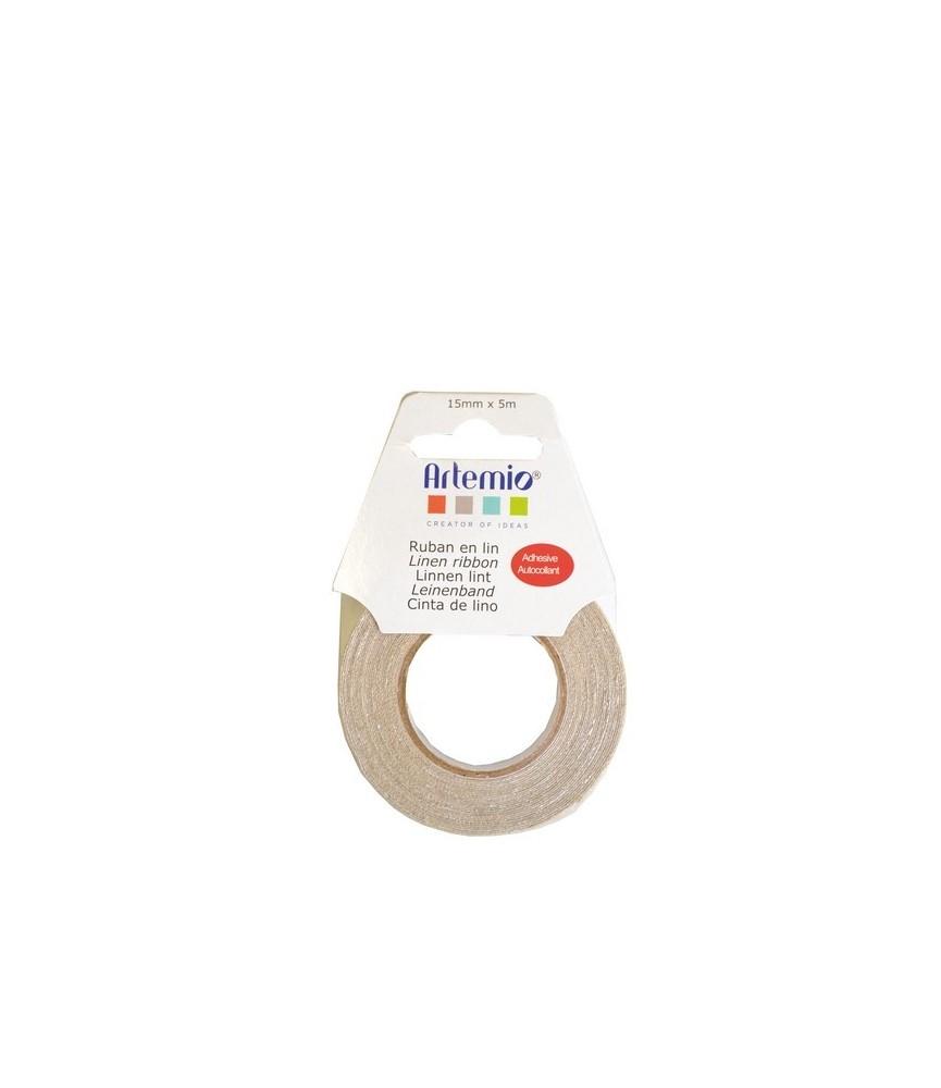 Rollo de cinta de lino adhesiva
