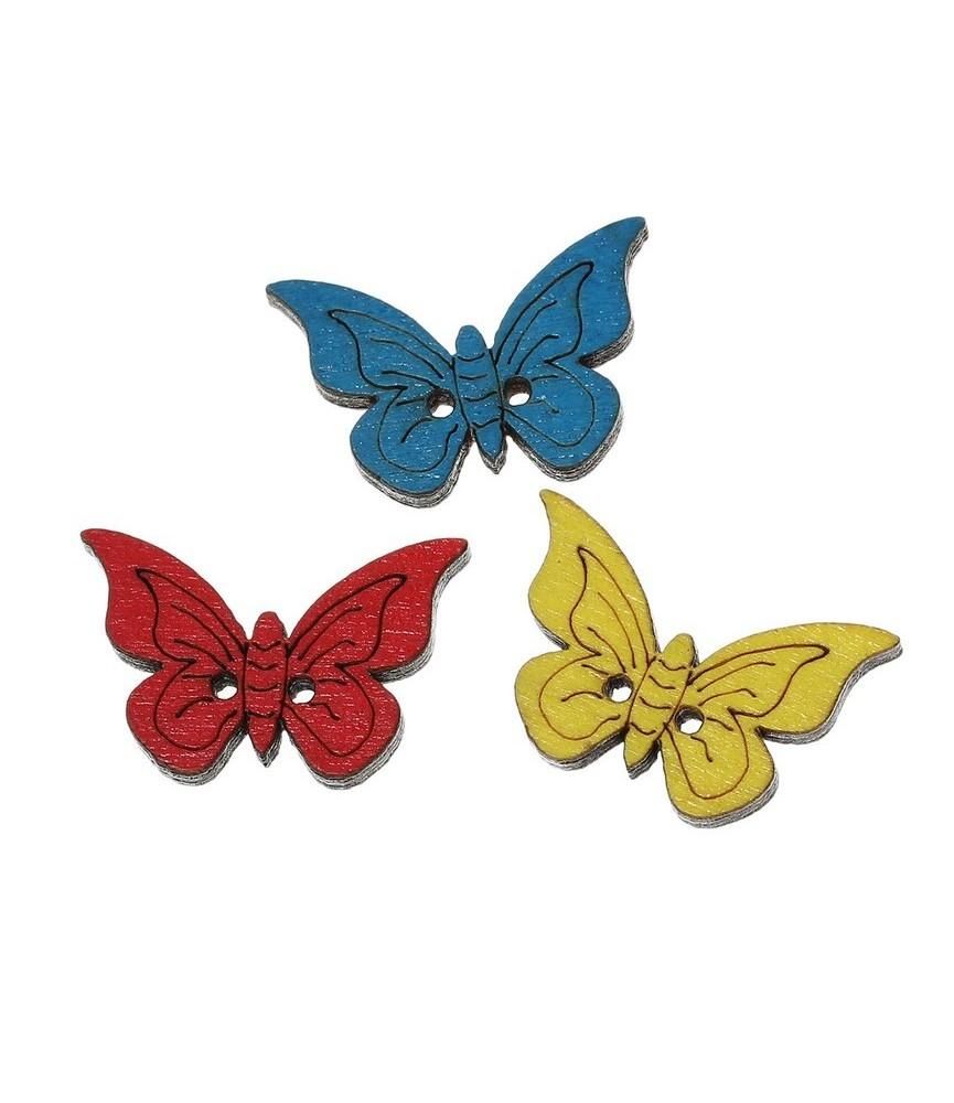 Botón de madera mariposa de colores