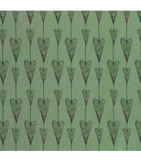 Tela mirabelle corazones verde