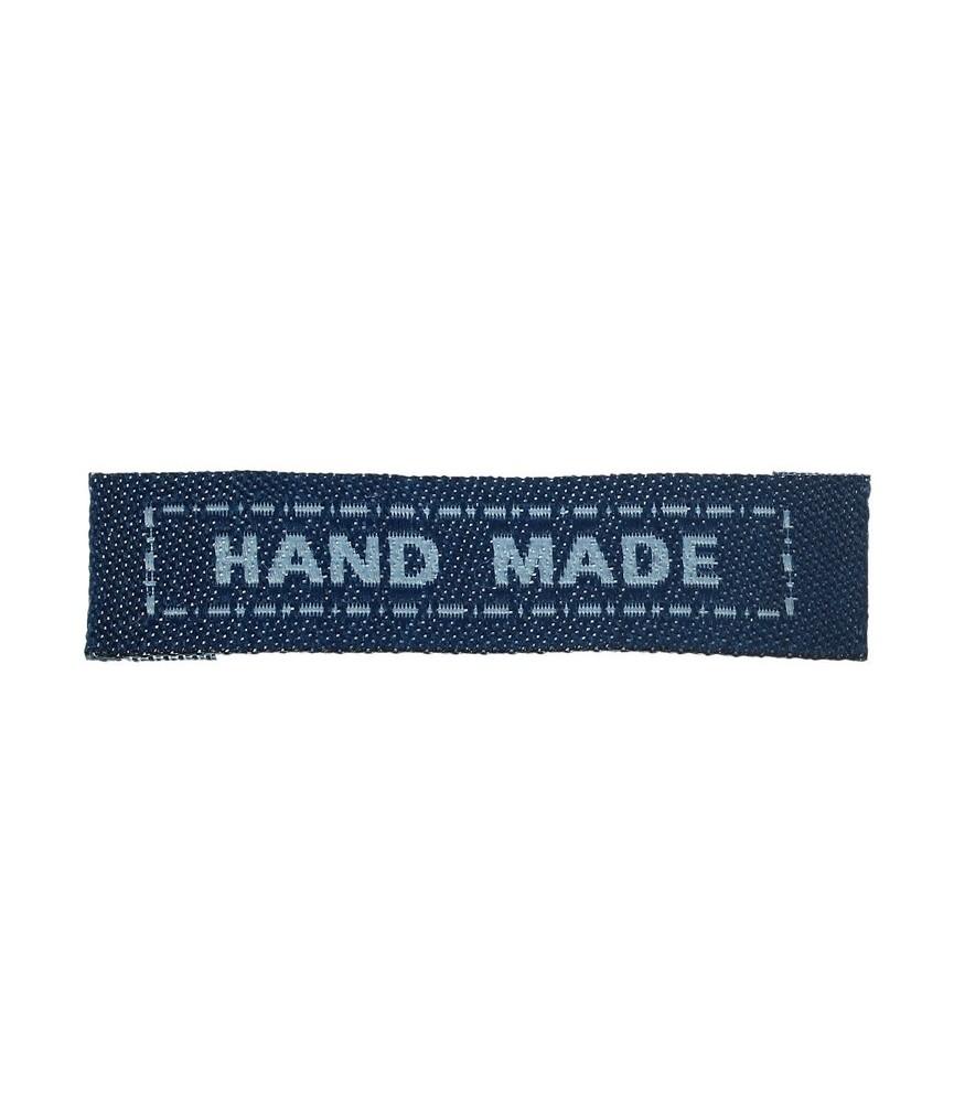 Pack 5 Etiquetas de tela Hand made azul