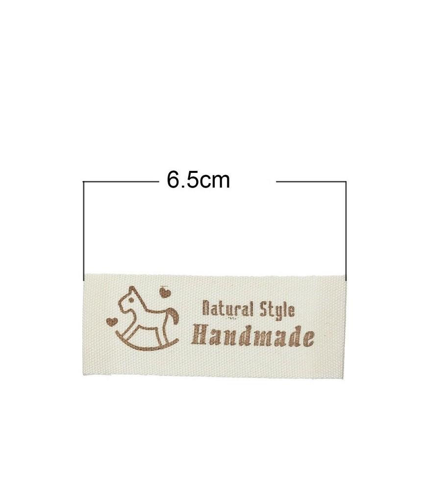 Pack 5 Etiquetas de tela Hand made caballito