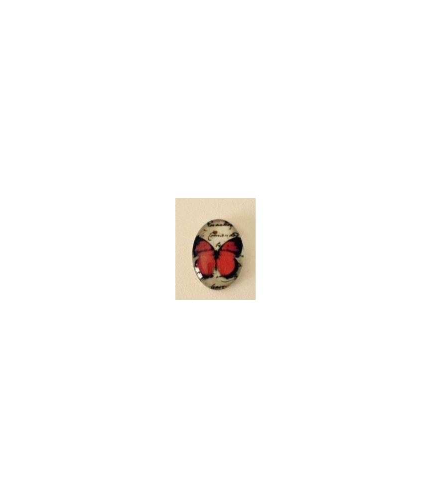 Cabuchon cristal mariposa lisa roja18x13mm
