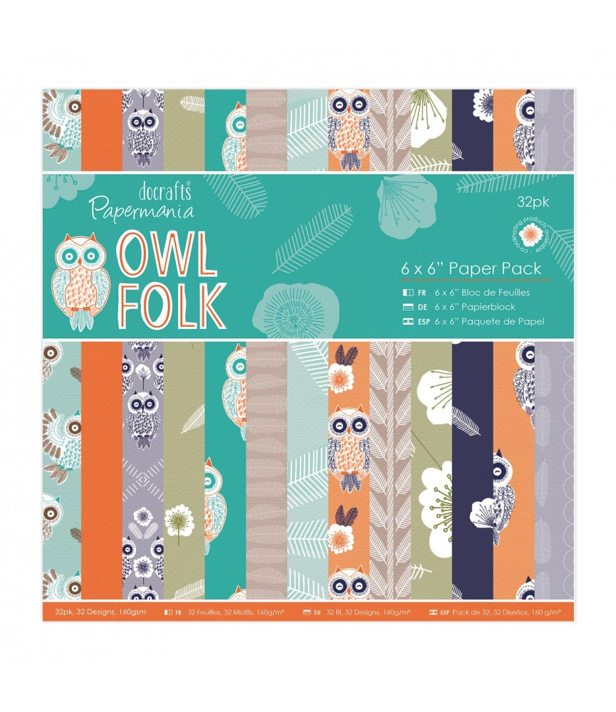 32 hojas scrap Owl Folk 12x12
