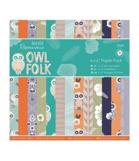 Pack 32 hojas Owl Folk 6x6