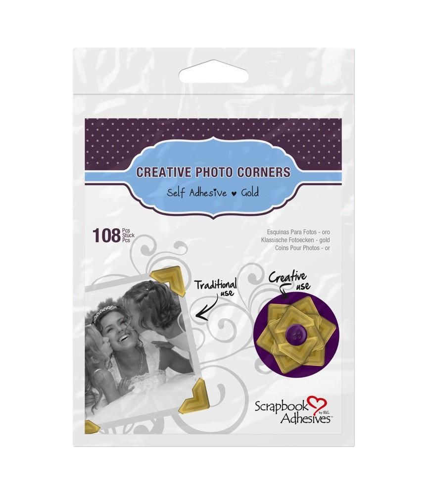 108 ud Esquinas adhesivas papel oro