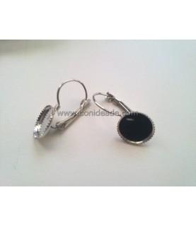 Par de pendientes con base para cabuchon de 12 mm plateado