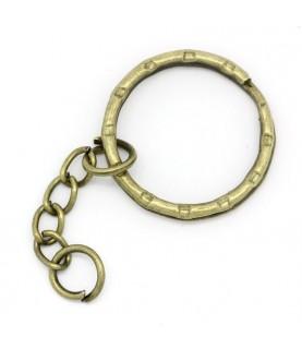 Anilla llavero de 25mm bronce con cadena