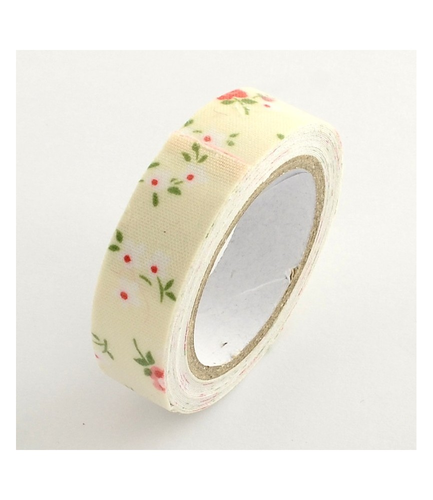 Rollo de Fabric tape flores beige