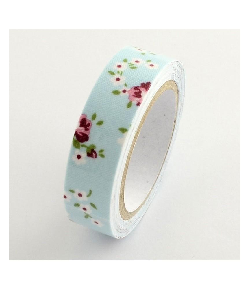 Rollo de Fabric tape flores azul