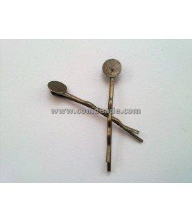 Horquilla vintage bronce con base para pegar