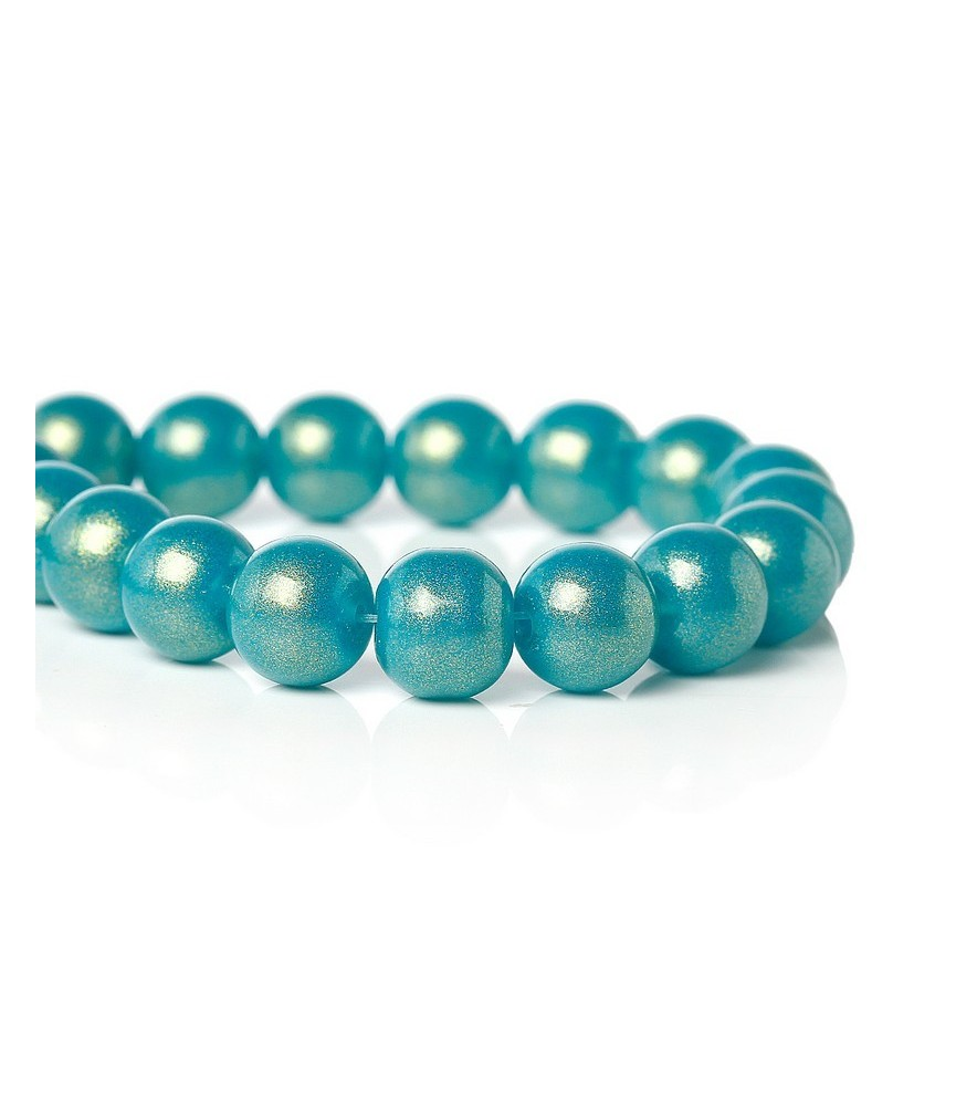Pack 10 cuentas de cristal azul agua 10 mm