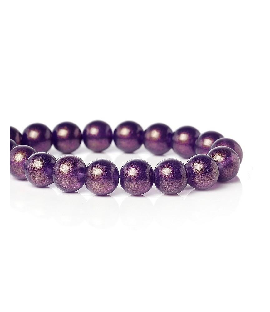 Pack 10 cuentas de cristal purpura 10 mm