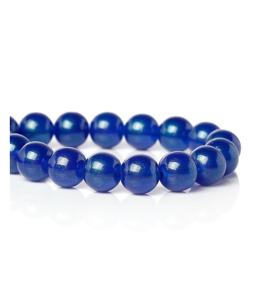 Pack 10 cuentas de cristal azulon 10 mm