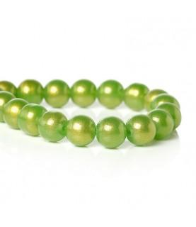 Pack 10 cuentas de cristal verde 10 mm