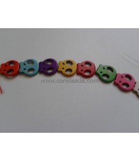 Pack de 5 cuentas de calaveras planas varios colores
