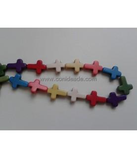 Comprar Pack 5 Cuentas de piedra cruces 16x12 mm de Conideade