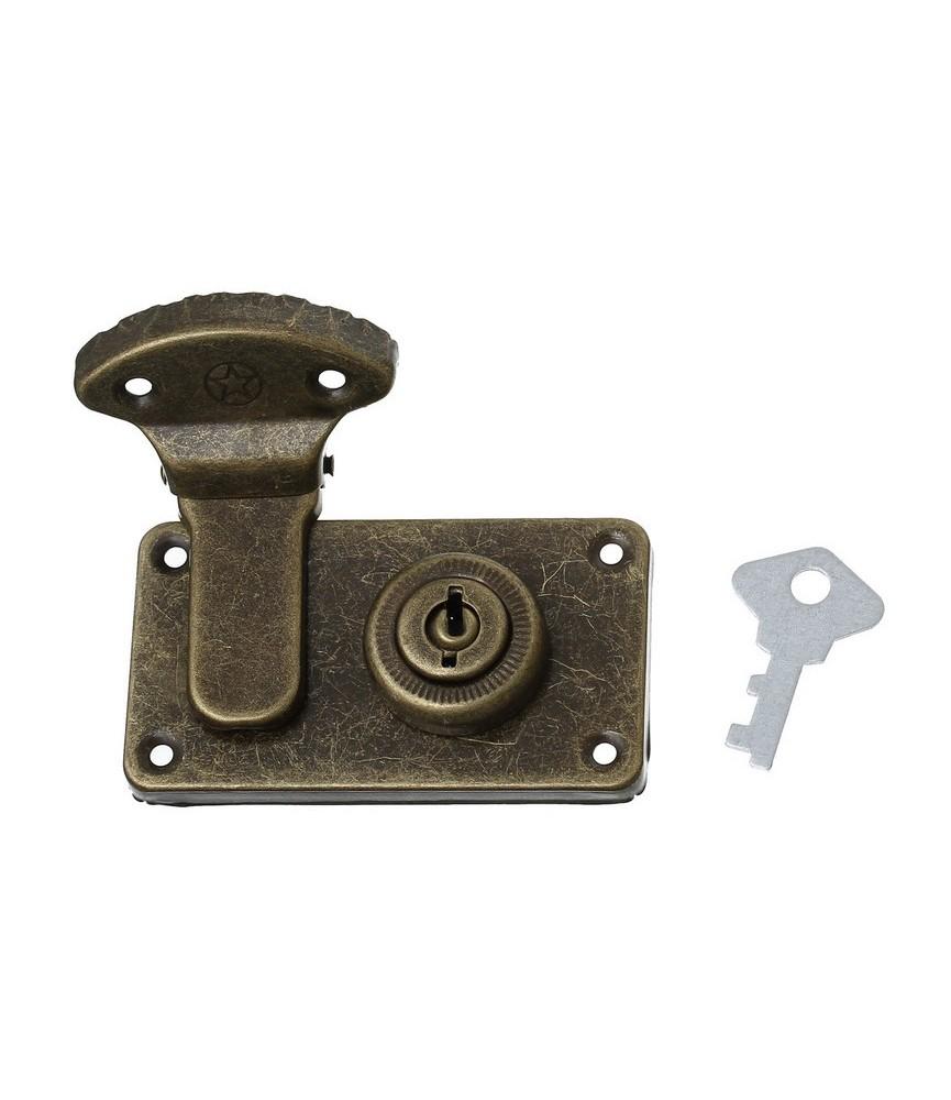 Cerradura con llave color bronce