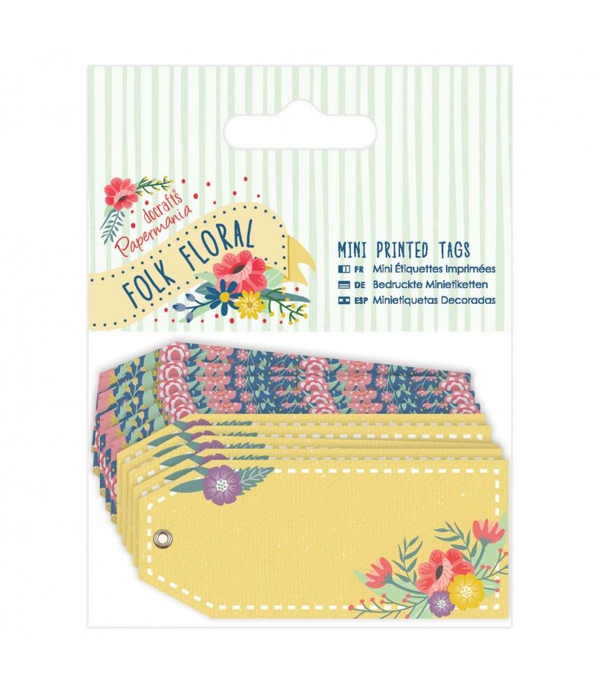 Pack 10 mini etiquetas Decoradas Folk Floral