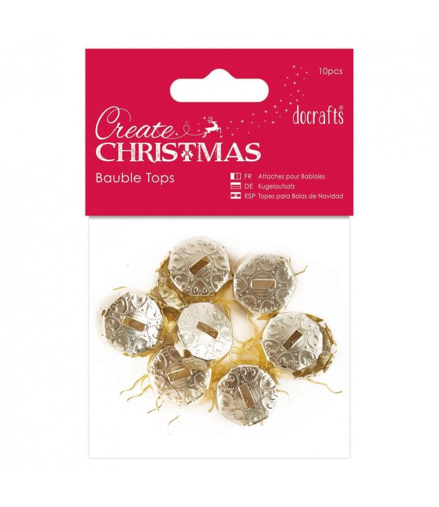 Pack 10 topes para bolas de navidad dorado