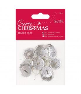 Pack 10 topes para bolas de navidad plata