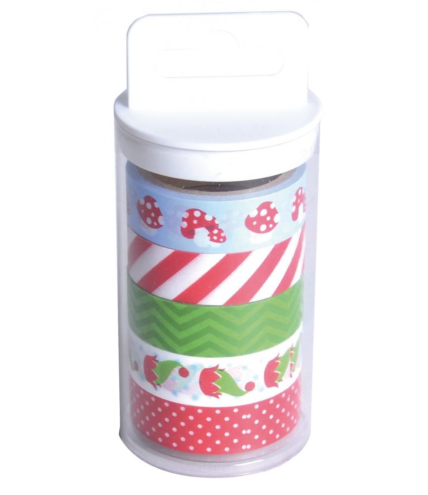 Pack 5 rollos de washi tape mod navidad
