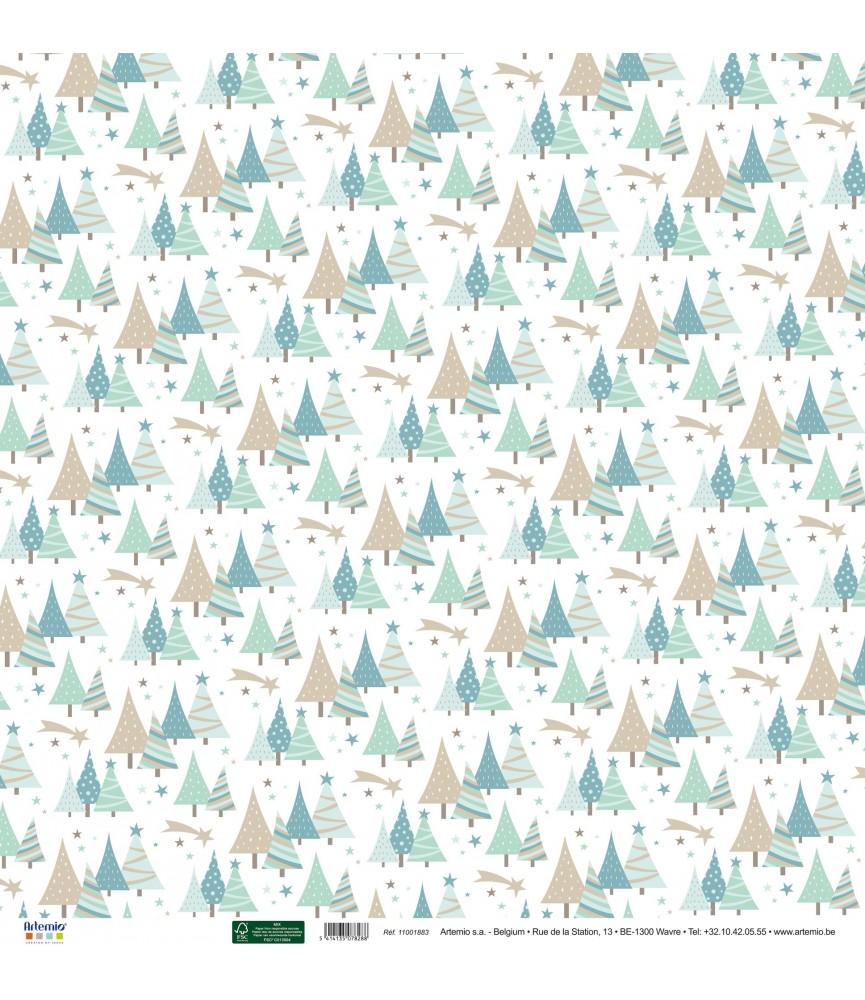 Papel 30x30 abetos de navidad