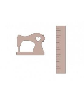 Silueta maquina de coser y regla