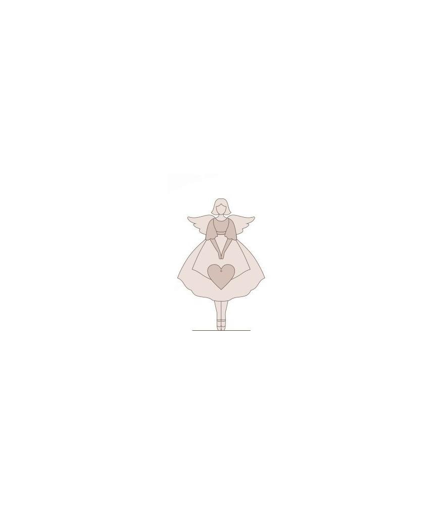 Silueta de madera angelita Corazon 15x 9 cm