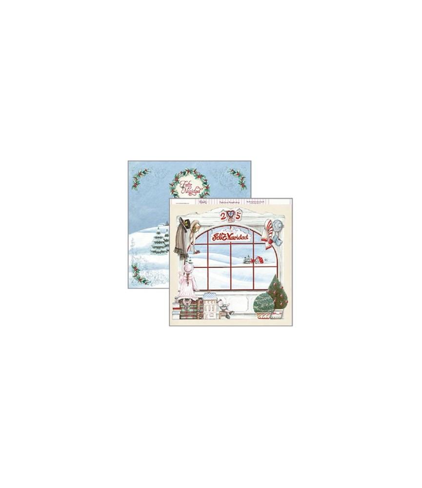 Papel scrap 30x30cm ventana navidad