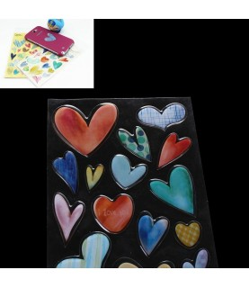 Imagén: Set de 18 pegatinas de corazon 3D