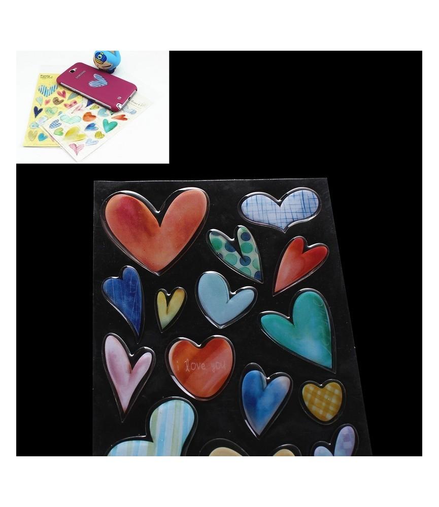 Set de 18 pegatinas de corazon 3D