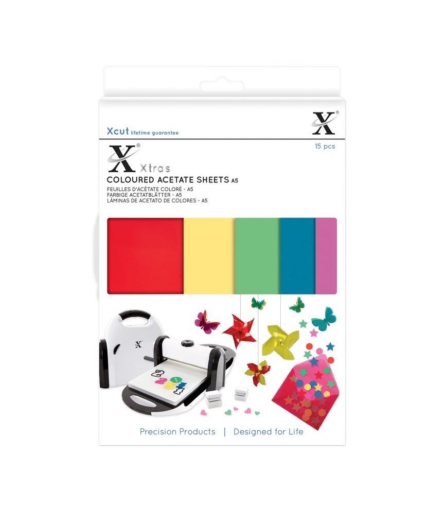 15 láminas de acetato de colores A5