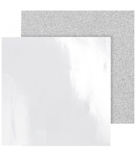 Imagén: Pack 2 hojas brillo y purpurina 30x30 blanco