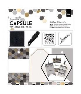 Imagén: Set de Etiquetas  y sellos geometric mono