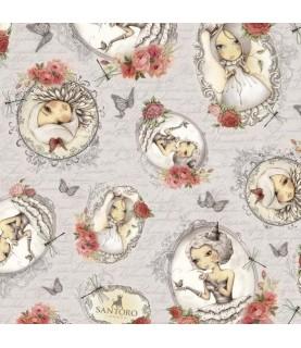 "Tela mirabelle ""la vie en rose"" medallones gris"