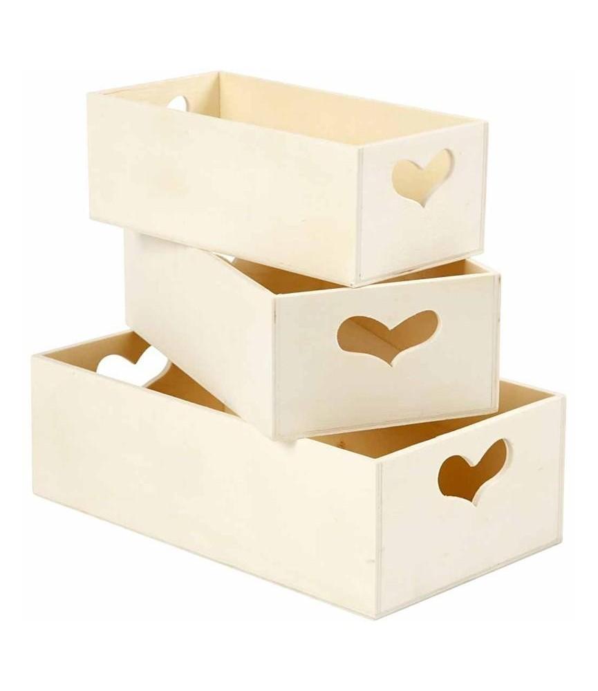 Juego de 3 cajas de madera corazon