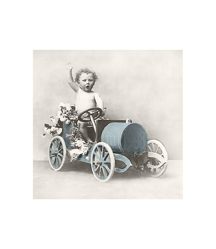 Servilleta Vintage boy in car 33x33cm para decoupage y manualidades