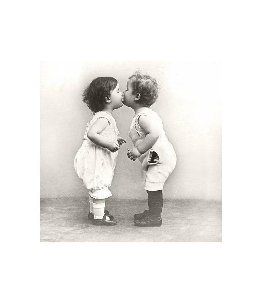 Servilleta Vintage kissing babies 33x33cm, para decoupage y manualidades