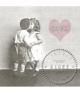 Servilleta Vintage kissing couple 33x33cm para decoupage y manualidades