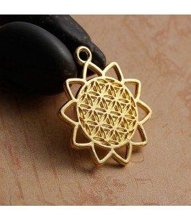 Colgante flor de la vida en dorado