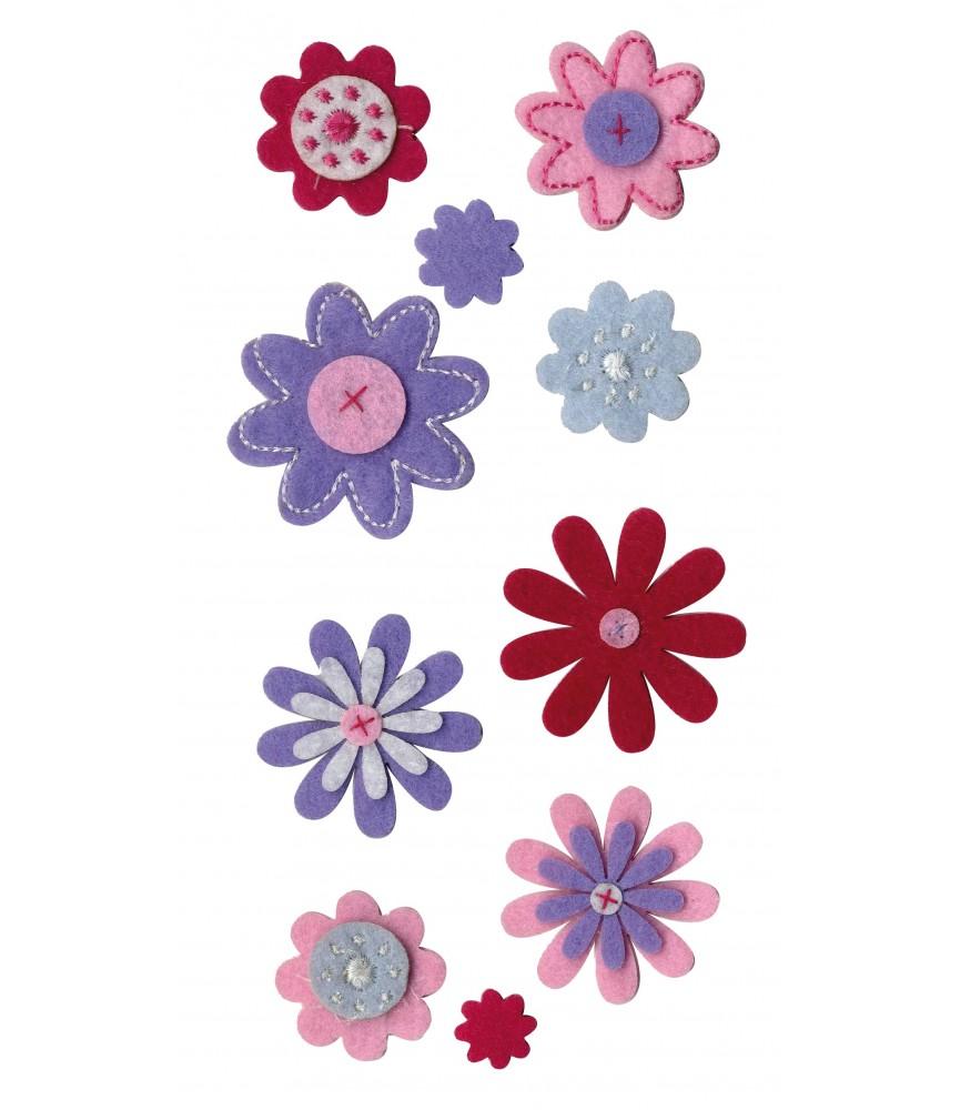 Pack 10 flores de fieltro precosidas